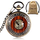 yisuya Holz-Taschenuhr, durchsichtige Rückseite, sichtbares Uhrwerk, Mechanische Uhr, Stil: Vintage / Retro, Römische Zahlen, mit Kette, tolles Geschenk
