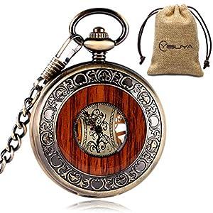 YISUYA Mechanische Taschenuhr Mit Kette Herren, Holz Aushöhlen Zurück Skeleton Dial Römische Ziffern Vintage Style Anhänger Halskette Taschenuhren Geschenk