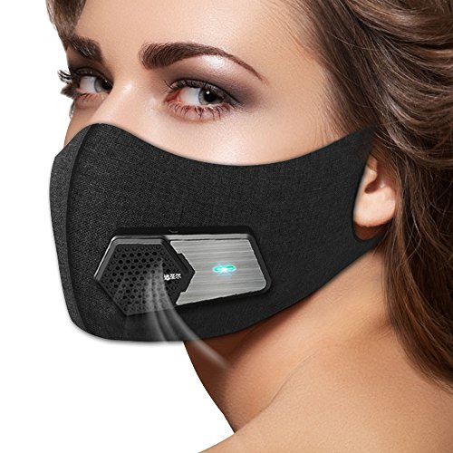 Intelligente Elektrische Antiverschmutzungs Maske N95 Wiederverwendbarer Atemschutzmaske Staubmaske mit Filter für Luftverschmutzung / PM 2.5 / Radfahren / Laufen / Reisen / Staub / Motorrad / Sport Outdoor-Aktivitäten