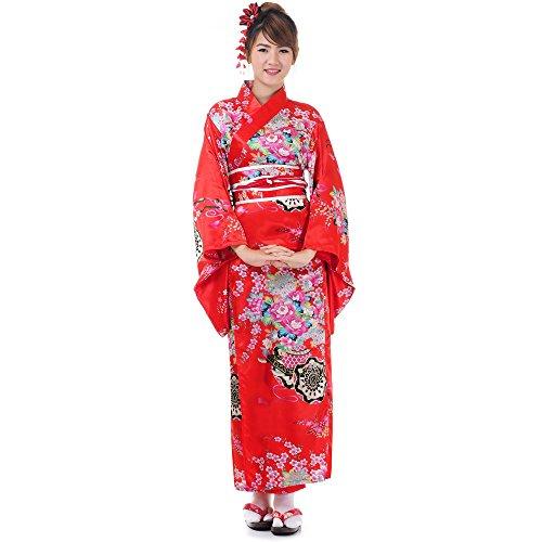 Princess of Asia Japanischer Geisha Kimono Kujaku Rot Satin One Size