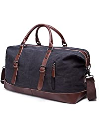 Unisex'S Canvas Duffel Bag Oversized Carry On Bag Travel Tote Weekender Bag Handbag (Black) By Baigio