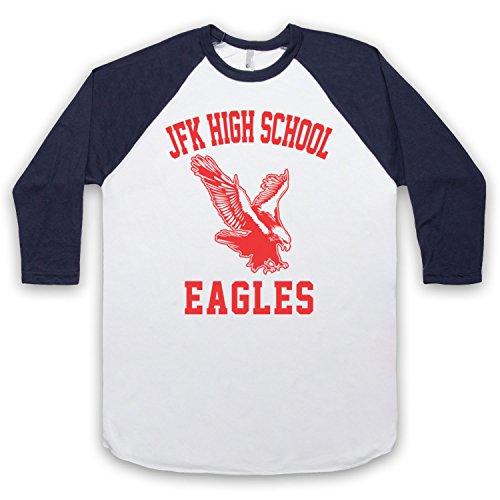 Inspiriert durch Seinfeld JFK High School Eagles Unofficial 3/4 Hulse Retro Baseball T-Shirt Weis & Ultramarinblau