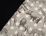 0,5m Jersey wilde Tiere taupe & 0,5m Bündchen uni schwarz