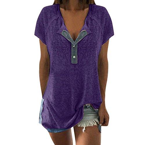 Aiserkly Frauen lösen beiläufige Knopf-Kurzschluss-Hülsen-Blusen-T-Shirt Oberseiten des Patchworks Lila XL