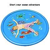 Apark Splash Pad, Wasser-Spielmatte Wasserbefülltes Baby-Spielzeug Sprinkler und Splash Play Matte Interessant -Blume Pad,Sommer Garten Wasserspielzeug für Baby, Kinder ,Hund und Haustiere (Blau)