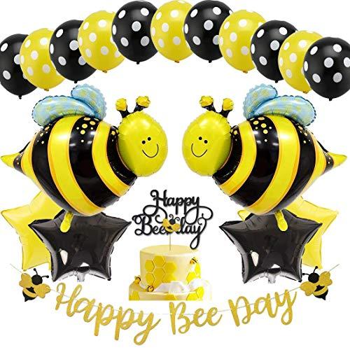 dekoration Hummel-Luftballons   Happy Bee Day Gold Glitter Banner & Happy Bee Day Cake Topper für Honey Bee Motto-Geburtstagsfeier-Baby-Dusche liefert ()