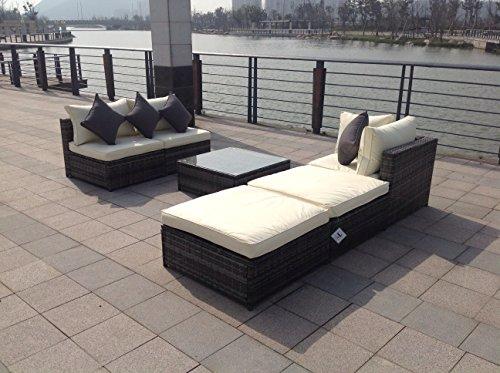 Nuovo set di mobili da giardino in rattan intrecciato for Mobili giardino sconti