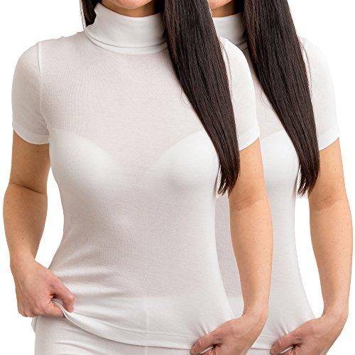 HERMKO 17855 2er Pack Damen Shirt mit Rollkragen, Farbe:weiß, Größe:36/38 (S)