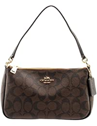 1585bc4483b5 Coach Signature Women s Coated Canvas Top Handle Crossbody Bag (Brown Black
