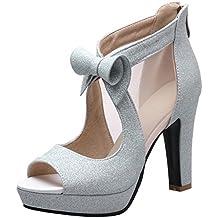 Zanpa Mujer Mode Tacon Zapatos Peep Toe