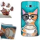 Samsung Galaxy Grand 2 funda - Gallery88 Samsung Galaxy Grand 2 Carcasa, (Vidrios que desgastan del gato) Suave TPU protectora de Silicona de Gel Funda Tapa Case Cover para Samsung Galaxy Grand 2 G7105 (5.25 pulgadas) + 1 x Color aleatorio enchufe del polvo libre