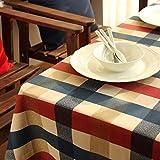 Cubierta de mesa lavable a prueba de polvo: mantel de algodón a cuadros rojo y azul de Edimburgo, 80X120 CM, ideal para cenas en interiores y exteriores Picnic Decoración para el hogar Mesa de comedor
