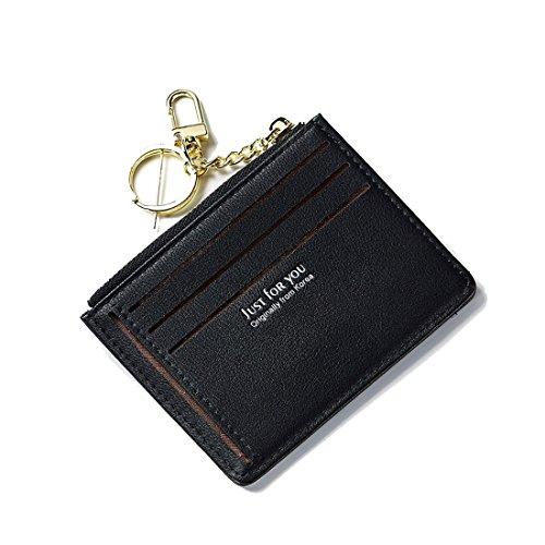 Schlanke Brieftasche Deman Mini Portemonnaie Leder Portmonee Kreditkarteninhaber Geldbeutel Münzfach Slim Wallets für Frauen und Mädchen Kleiner dünner Geschenk mit Schlüsselanhänger Schwarz