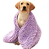 Avair Microfibre Dog Towel | Super Absorbent Pet Towel With Hand Pockets | Quick Drying Dog Towel | Soft Chenille Fibres Help Lift Up Dirt,Water and Sand | Machine Washable