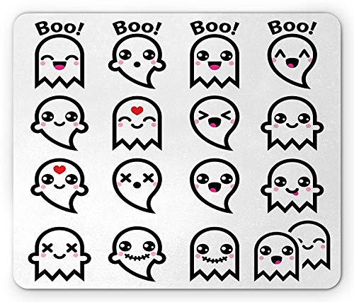 Kawaii Mouse Pad, Cute Ghosts Figures Collection with Halloween Theme Abstract Doodle Pattern, Standard Size Rectangle Non-Slip Rubber Mousepad, Black Red Pink