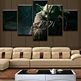 YYKWH Toile 5 Pièces Cadre De Peinture 100X50 / 39, 4X19, 7'5 Star De Cinéma Maître De Guerre Yoda Wall Art Photo Décoration Salon Impression sur Toile Peinture Murale Peinture Impression