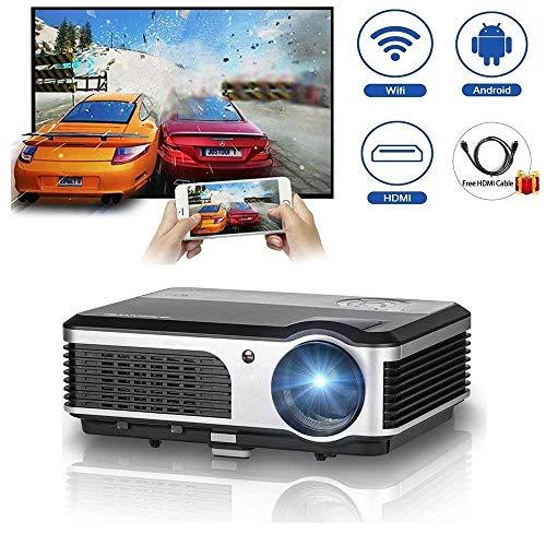 ZLMI LED-Android-Wireless-Projektor mit HDMI-TV-Tuner Eingebautes WiFi-Heimkino-Theaterprojektoren 3800 Lumen Unterstützung 1080P HD für Smartphone-Tablet