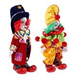 Fenteer 2 Stück Mini Halloween Clown Kostüm Porzellanpuppe Im Bunten Kostüm Dekofiguren Geburtstagsgeschenk - #2