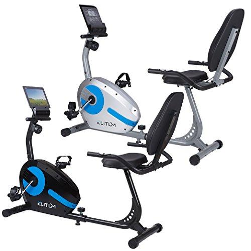 Liegehemitrainer LX300 Sitzheimtrainer Fitnessbike mit Computer Pulssensoren Smartphone Halterung Silber