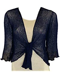 1e1423110cb LADIES PLAIN KNITTED CROPPED TIE UP BOLERO SHRUG TOP - MASSIVE RANGE OF  COLOURS FIT ALL