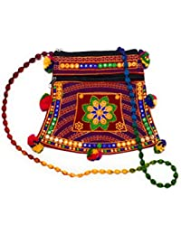 EMBROIDERED RED MULTI-COLOR POM-POM SLING BAG WITH MIRROR WORK FOR GIRLS/WOMEN