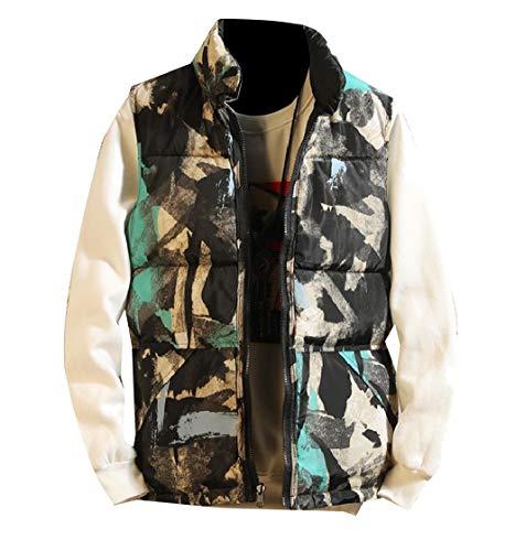 CuteRose Men's Cozy Reversible Quilted Puffer Zip Outwear Coat Padded Vest Green L Plus-size-reversible Vest