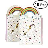 BESTOYARD Patrón de unicornio Papel Bolsas de caramelo Bolsas de papel de caramelo Bolsas de regalos de fiesta Bolsas de regalo Bolsas de regalo Cajas de regalo de chocolate Cajas de cumpleaños para niños Bodas de cumpleaños Fiesta de bienvenida al bebé Paquete de 10