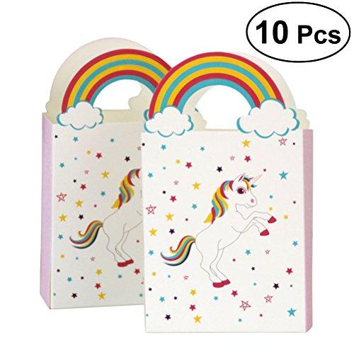 BESTOYARD Einhorn-Muster-Papier-Süßigkeitstaschen-Regenbogen-Papier-Süßigkeits-Taschen Partei-Bevorzugungs-Beutel-Geschenk-Taschen Schokoladen-Geschenk-Festlichkeits-Kästen für Kindergeburtstags-Hochzeits-Babyparty-Partei-Bevorzugungen Satz von 10 (Bevorzugungen Babyparty Für Eine)