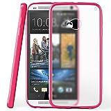 moex HTC One M7 | Hülle Slim Transparent Pink Impact Back-Cover Dünn Schutzhülle Silikon Handy-Hülle für HTC One M7 Case TPU Tasche Matt