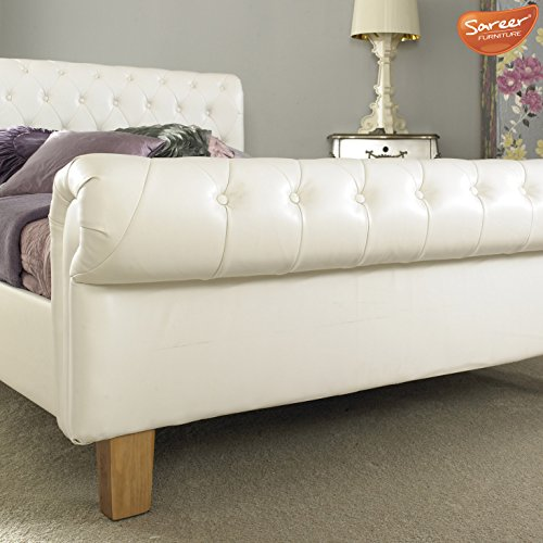 Richmond White Leather 5ft King Bed Frame