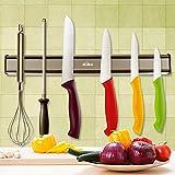 Porte-couteaux Kealive Support magnétique pour couteaux - Forte adhérence et montage facile - Porte-couteaux magnétique - Acier inoxydable mat - 36cm, matériau de montage compris