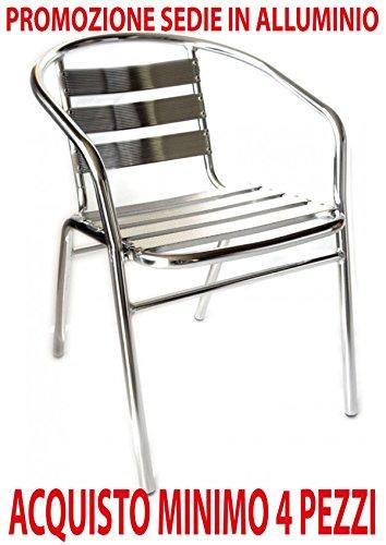 Ordine min. 4 pz poltrona sedia in alluminio per bar ristorante da esterno giardino balcone catering