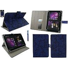 Emartbuy® Woxter Nimbus 98 RQ Quad Core 9.7 Inch Tablet Universal Range Vintage Floral Azul Ángulo Múltiples Executive Folio Funda Carcasa Wallet Case Cover Con Tarjeta de Slots + Azul Lápiz Óptico