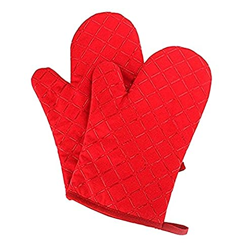 YOBOKO Cotton Heat Resistant Silicone Surface Microwave Oven Gloves Pot Holder Kitchen Accessories (Red)