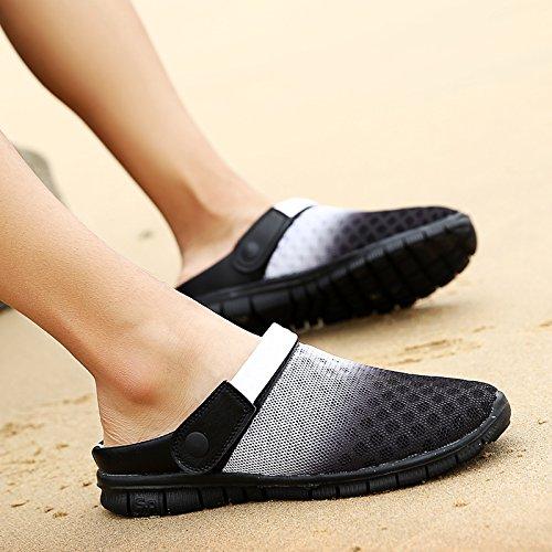 Hommes chaussures d'été trou chaussures de plage, chaussons, tendance, ventilation, chaussons, amoureux, grande taille, Bird's Nest, cool shoes 1927 black and white