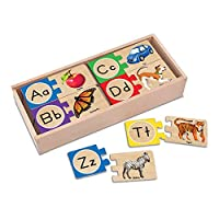 Melissa & Doug Self-Correcting Alphabet Letter Puzzles (Developmental Toys, Wooden Storage Box, Detailed Pictures, 52 Pieces, 7.62 cm H × 34.925 cm W × 14.605 cm L)