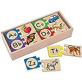 Melissa & Doug Self-Correcting Alphabet Letter Puzzles (Developmental Toys, Wooden Storage Box, Detailed Pictures, 52 Pieces, 7.62 cm H × 34.925 cm W × 14.605 cm L)