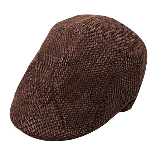 SEVENHOPE Newsboy Baskenmütze Atmungs Cabbie Flache Kappe Einstellbare Baumwollkappe Mode Fahren Hut Outdoor Sommer Sonnenhut (Schwarz)