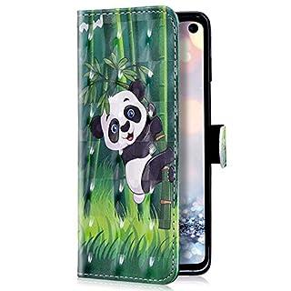 Uposao Kompatibel mit Samsung Galaxy A50 Handyhülle Luxus Glitzer Leder Hülle Brieftasche Wallet Case Flip Schutzhülle Tasche Bookstyle Klapphülle Magnetisch Kartenfach Ständer,Panda
