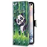 Uposao Kompatibel mit LG V50 ThinQ Handyhülle Luxus Glitzer Leder Hülle Brieftasche Wallet Case Flip Schutzhülle Tasche Bookstyle Klapphülle Magnetisch Kartenfach Ständer,Panda