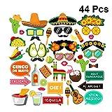 PRETYZOOM 44pcs messicani Fiesta Photo Booth Puntelli Selfie Puntelli Cinco De Mayo messicani Bomboniere