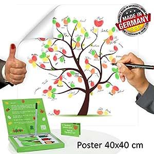 fingerabdruck baum poster 40x40 inkl zubeh r set gratis stempelkissen stift anleitung. Black Bedroom Furniture Sets. Home Design Ideas