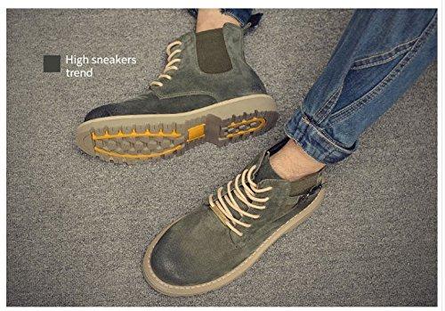 HL-PYL-Martin alta stivali Scarpe Stivali per Carta opaca Coreano green
