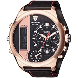 DETOMASO Palermo Men's Quartz Watch with Black Dial Analogue - Digital Display and Black Leather Bracelet Dt2052-C