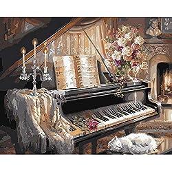 JUNSZYH Peinture Numérique,Piano Noir Et Blanc Famille Mignonne De Chat,Peinture À l'huile De Numéro De Dessin De Photo De Bricolage À Colorier sur La Peinture De Toile De La Peinture De Mur De Main
