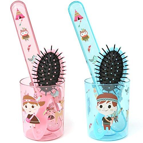 com-four® 6-teiliges Pflegeset für Kinder, Zahnputzbecher, Zahnbürstenetui und Haarbürste mit Indianer-Motiv für Mädchen und Jungen (Indianer pink + blau - 06-teilig)