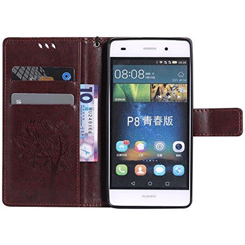 TOCASO Funda de Cuero Huawei P8 Lite Funda Piel para con Tapa Huawei P8 Lite [Garantía de por vida] Soporte Plegable Ranuras para Tarjetas y Billetes Estilo Libro Cierre Magnético Impresión de Flor Impresión de Amor PU Premium y TPU Funda Interna --Marron