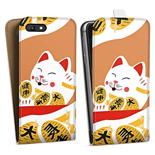 Apple iPhone X Silikon Hülle Case Schutzhülle Japan Katze Cat Downflip Tasche weiß