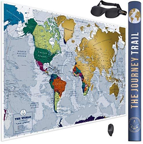Mapa Mundi para Rascar más grande (84x59cm) y con más destinos - Póster de papel de gran calidad, más grueso y capa de protección - Incluye Antifaz para un sueño profundo y reparador