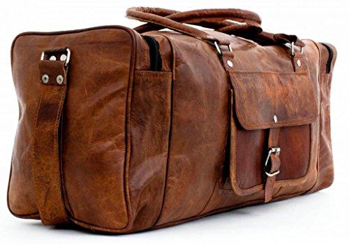 Cool Stuff Grand Sac Fourre-tout en cuir sac de voyage sac week-end Cabine Nuit Sport Sac fourre-tout Marron marron 24x11x11 inches